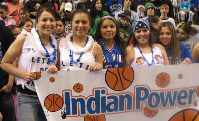 Four Winds girls with Indian power sign
